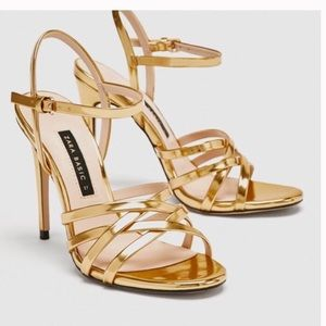 Zara laminate high heels sandals size 8 NWT